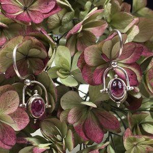 Vintage Sterling Silver Garnet Dangle Earrings